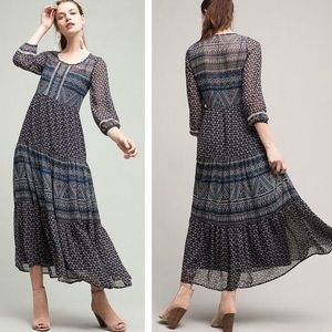 Anthropologie Floreat Geometry Tiered Maxi Dress